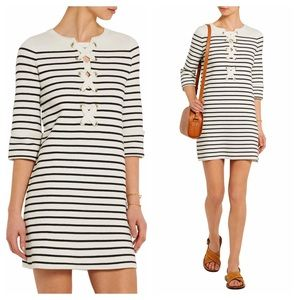 MAJE Nautical 70's striped knit mini sweater dress